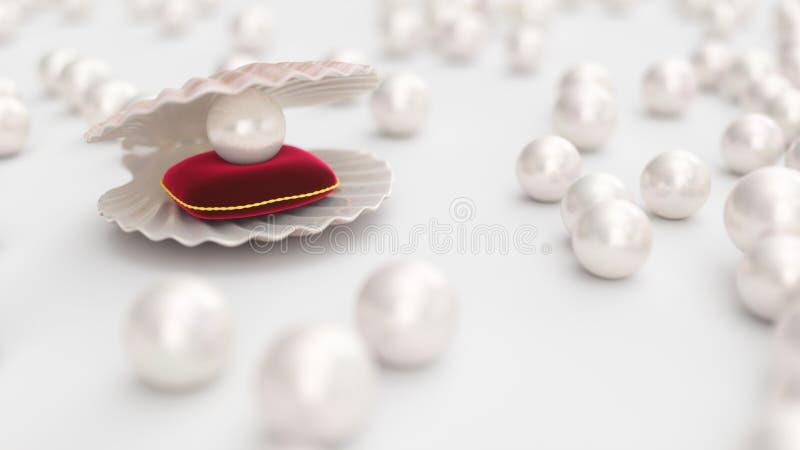 Coquillage avec des perles ? l'int?rieur sur l'oreiller rouge de velours Gemmes, les bijoux des femmes, perles de nacre Pour votr illustration stock