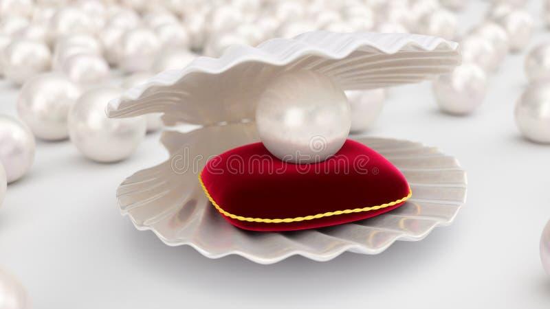 Coquillage avec des perles ? l'int?rieur sur l'oreiller rouge de velours Gemmes, les bijoux des femmes, perles de nacre Pour votr illustration libre de droits