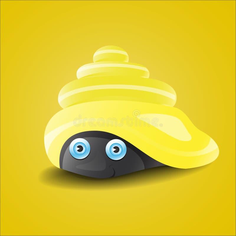 Coquillage brillant jaune mignon image stock