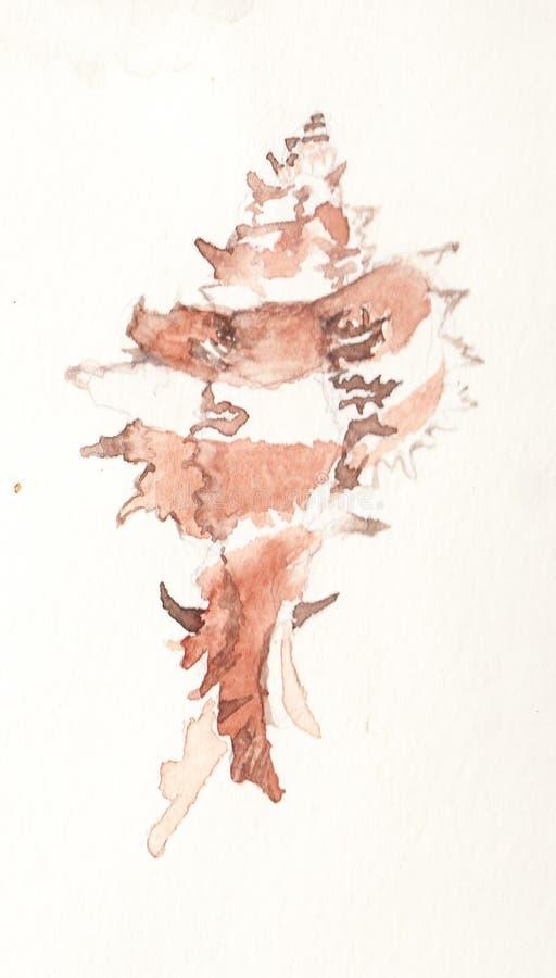 Coquillage en spirale pointu rayé dans l'aquarelle photo libre de droits