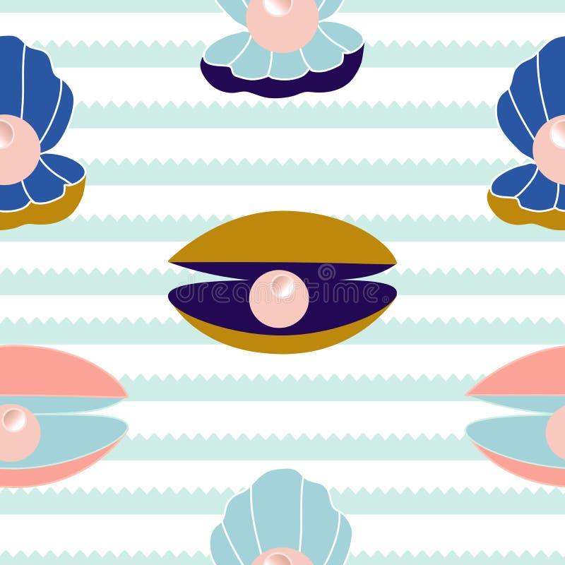 Coquillage et perles colorés dans une conception sans couture de modèle illustration de vecteur
