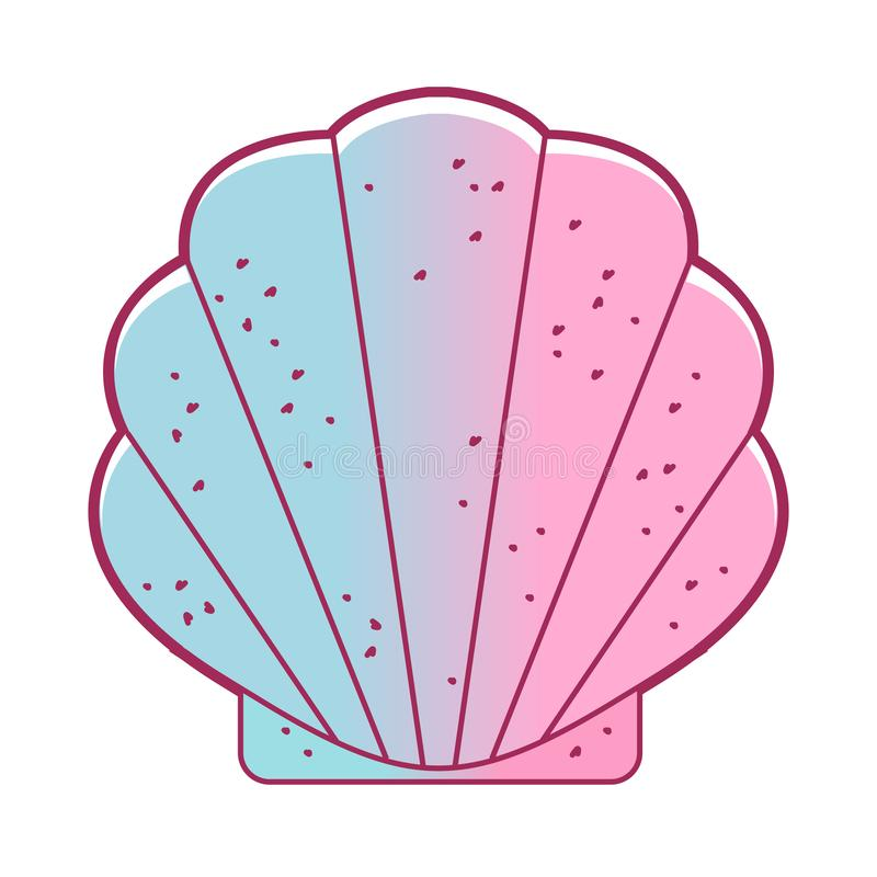 Coquillage, mollusques bivalves Feston exotique, mollusque marin LIFE-Nature sauvage Coquille simple de mer Installation d'emball illustration libre de droits