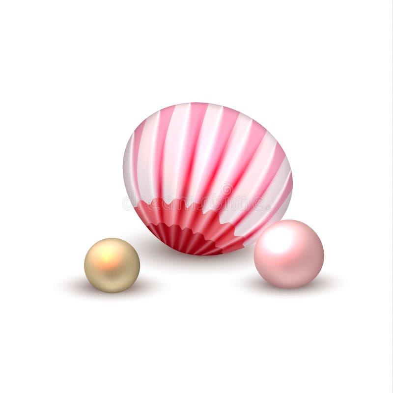Coquillage réaliste de vecteur avec des vacances de perles illustration de vecteur