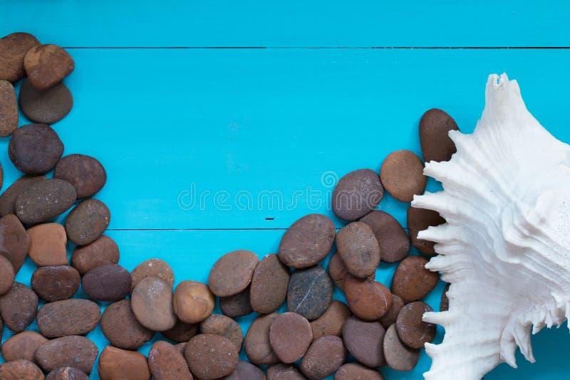 Download Coquillages Et Caillou Sur Le Fond En Bois Photo stock - Image du seashells, caillou: 76086644