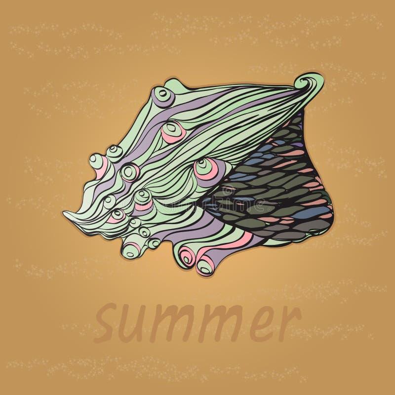 Coquille abstraite, carte d'été avec des coquillages sur le sable, illustration libre de droits