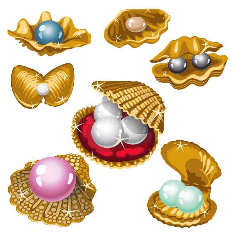 Coquille d'or avec les perles blanches, noires, roses et bleues illustration de vecteur
