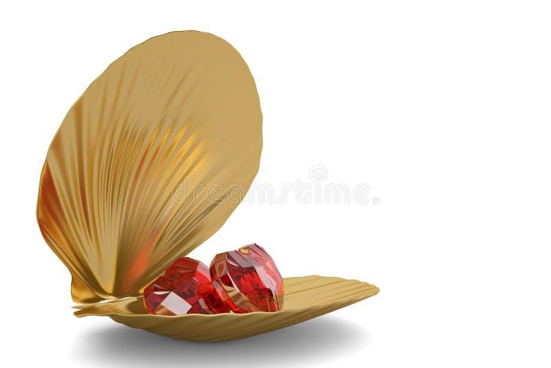 Coquille d'or de mer avec le rubis de coeur d'isolement sur le fond blanc 3 illustration de vecteur