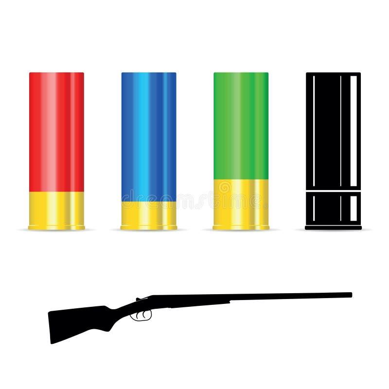 Coquille de fusil de chasse avec la silhouette de l'arme à feu illustration stock