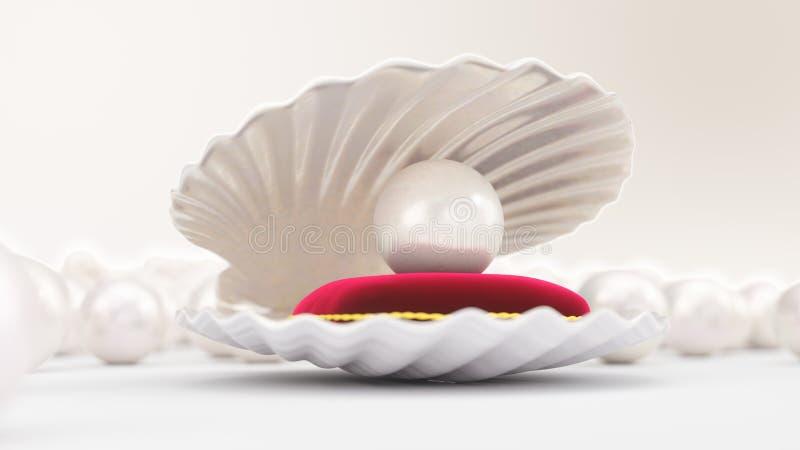 Coquille de mer avec la perle sur un oreiller rouge mol de velours avec une course d'or Belle perle, bijoux chers pour des femmes illustration stock