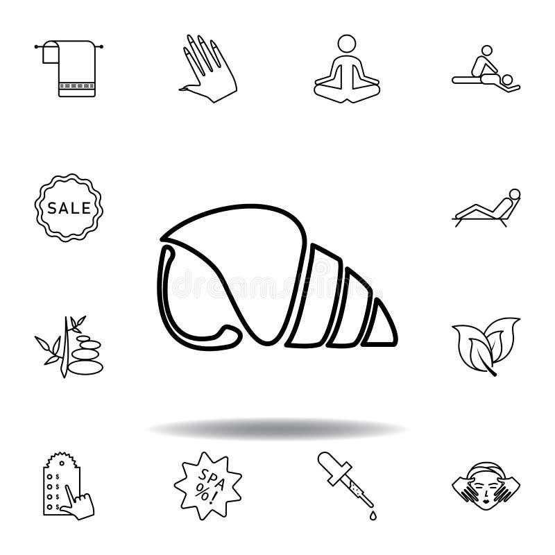 Coquille de Nautilus d'ic?ne d'ensemble de mer Ensemble détaillé de station thermale et détendre l'icône d'illustrations Peut ?tr illustration libre de droits