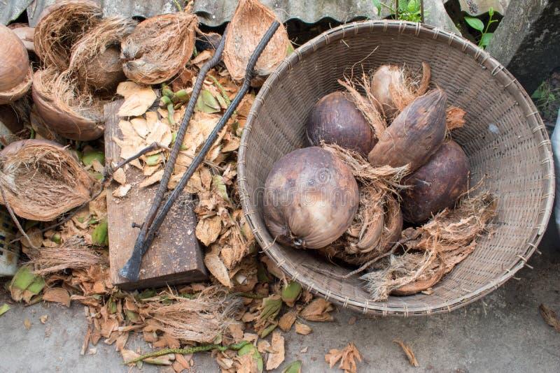 Coquille de noix de coco et outil épluchés d'épluchage qui est un style de vie traditionnel de Thailands photos stock