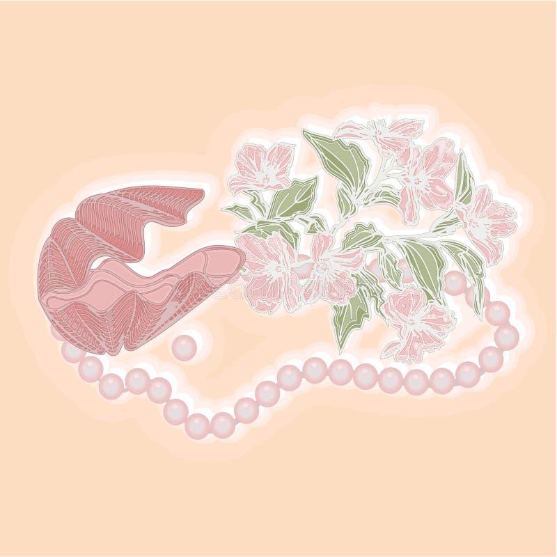 Coquille de vintage avec le vecteur de fleur et de perles illustration libre de droits