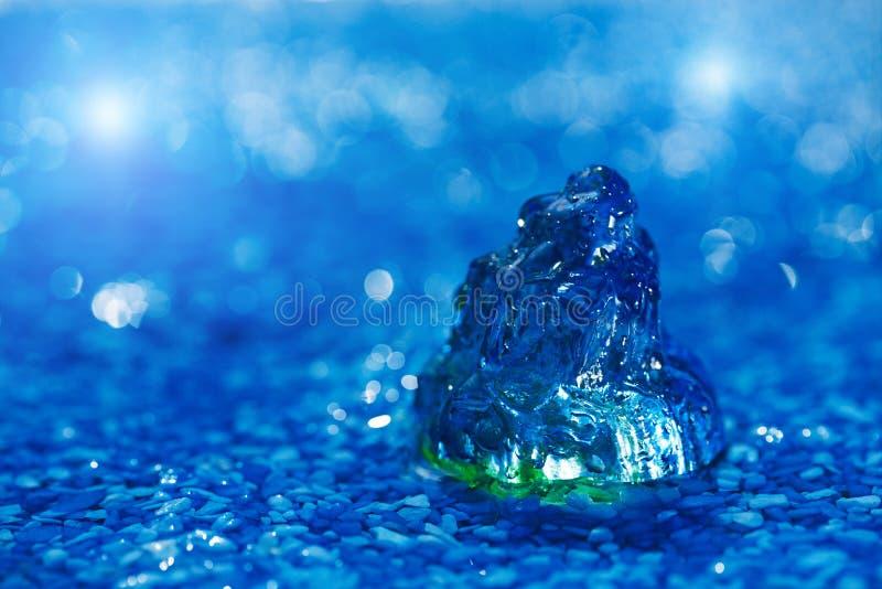 Coquille en verre de mer de grand feston sur le caillou bleu sous la gouttelette d'eau photographie stock