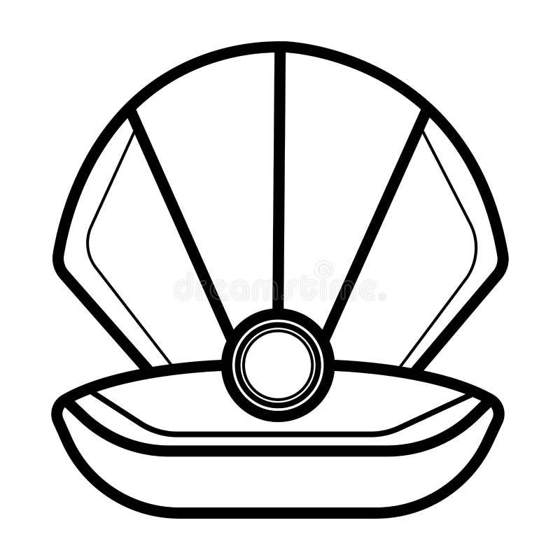 Coquille ouverte avec l'icône de perles illustration libre de droits