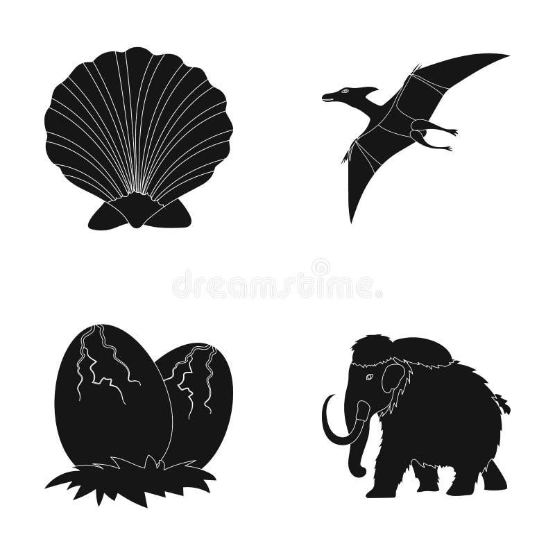 Coquille préhistorique, oeufs de dinosaure, ptérodactyle, gigantesque Dinosaure et icônes réglées de collection de période préhis illustration stock