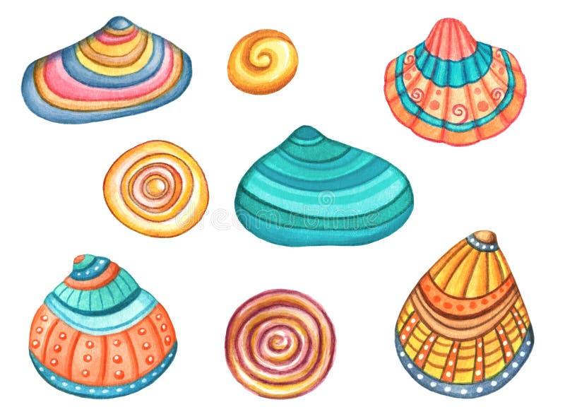 Coquilles colorées de mer d'aquarelle d'isolement sur le fond blanc illustration libre de droits