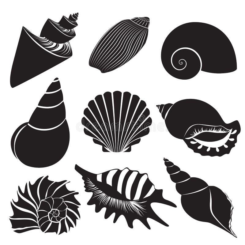 Coquilles de mer de vecteur Silhouettes de coquillage réglées d'isolement illustration stock