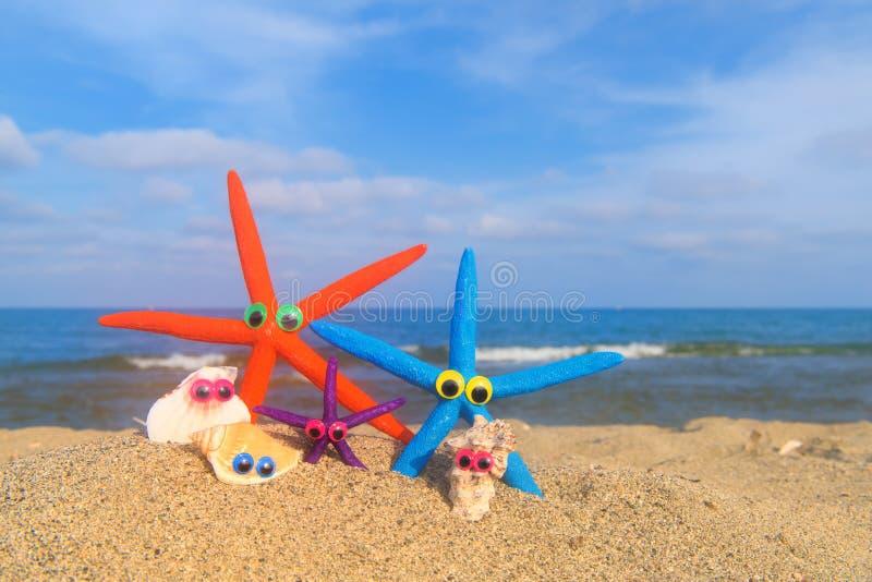 Coquilles drôles à la plage  photographie stock libre de droits