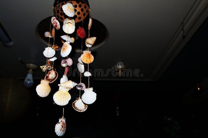 Coquilles ornementales de mer pendant du plafond image stock