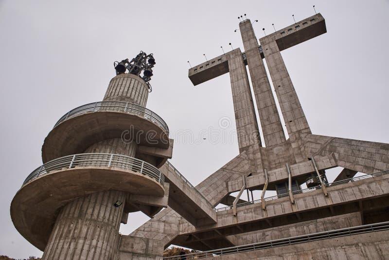 20-03-2019 Coquimbo, Chile La tercera cruz del milenio es un monumento conmemorativo religioso imagen de archivo libre de regalías