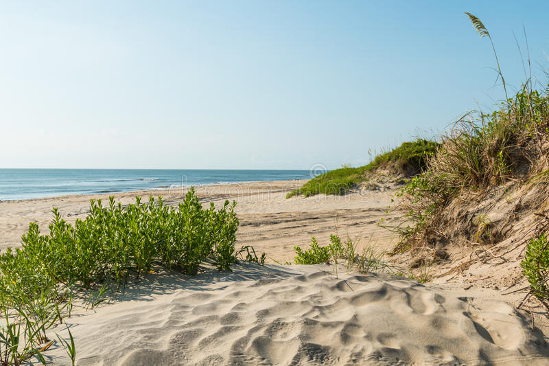 Coquina Beach on the Outer Banks in Nags Head. Coquina Beach on the Outer Banks in North Carolina at Cape Hatteras National Seashore stock photography