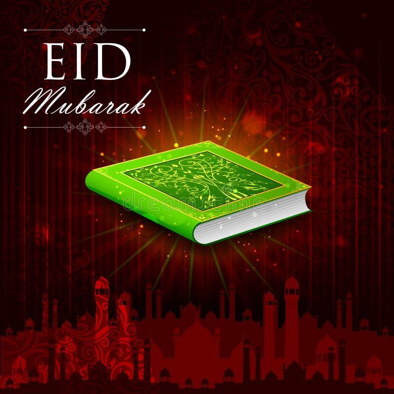 Corán en el fondo feliz de Eid stock de ilustración