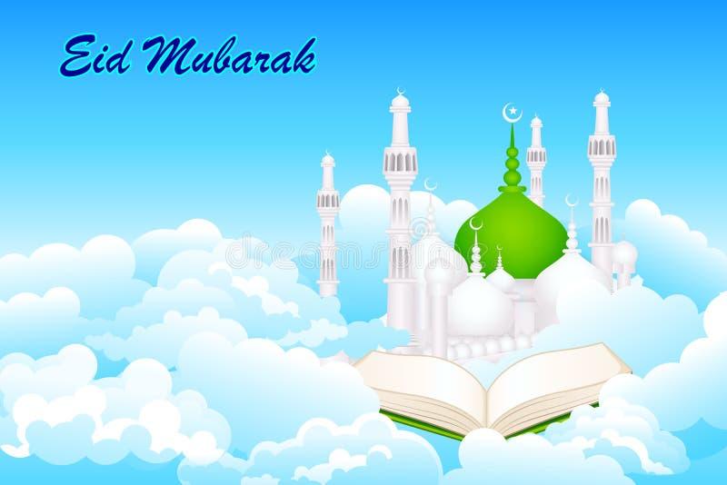 Corão no fundo de Eid Mubarak ilustração royalty free