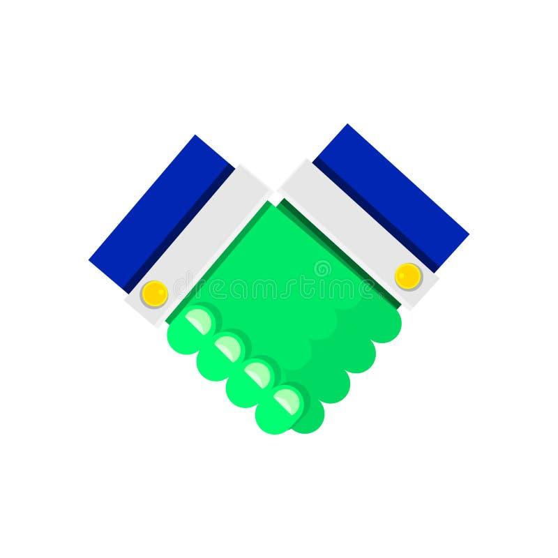 Cor ácido-verde do aperto de mão forte do ícone Conclusão de um acordo entre sócios Pictograma no estilo liso Vetor ilustração stock