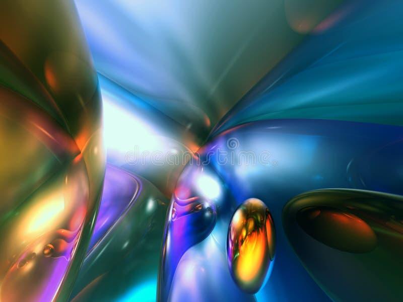 a cor 3D brilhante azul abstrata rende ilustração do vetor