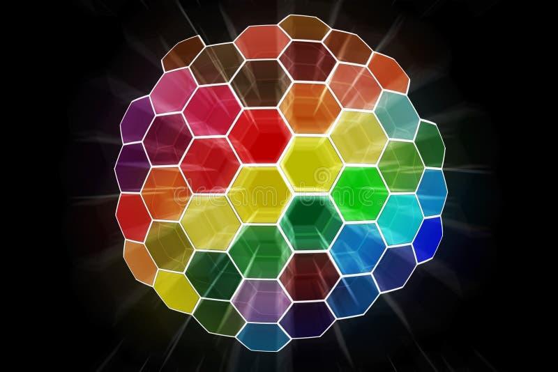 A cor abstrata brilhou a esfera ilustração stock