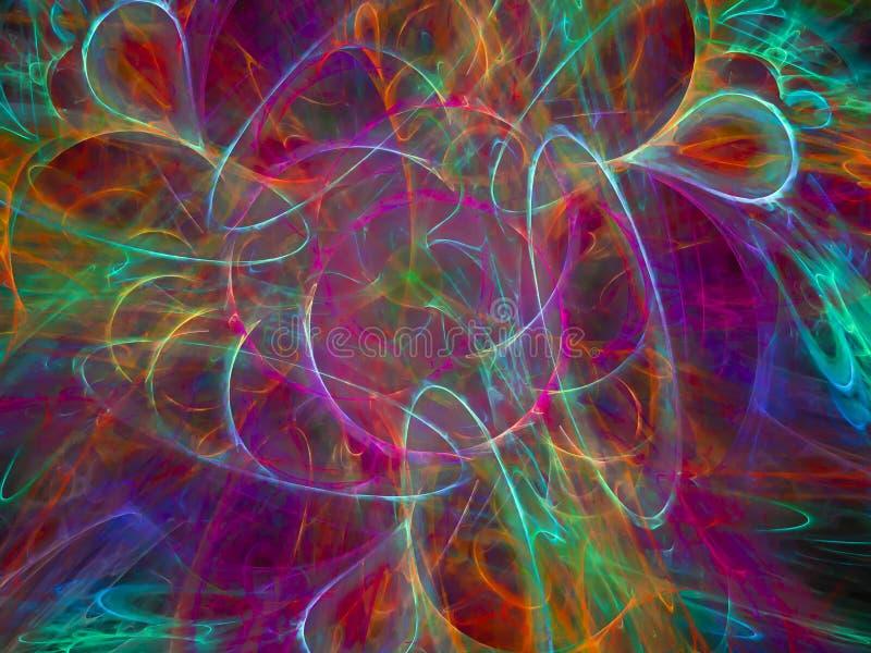 Cor abstrata do fractal, energia intrincada macia artística digital do molde do fluxo do movimento da fantasia ilustração royalty free