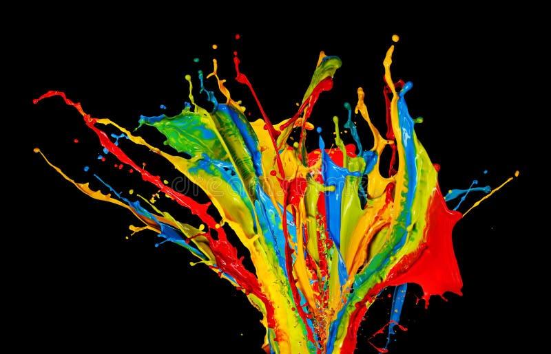 A cor abstrata espirra no fundo preto imagem de stock