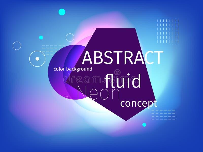 cor abstrata líquida fluida do néon do respingo e das gotas da forma 3d Vect ilustração do vetor