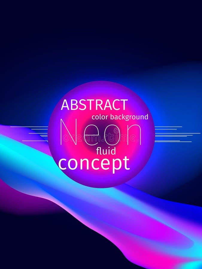 cor abstrata líquida fluida do néon do respingo e das gotas da forma 3d Vect ilustração stock