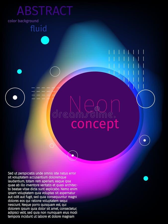 cor abstrata líquida fluida do néon do respingo e das gotas da forma 3d Vect ilustração royalty free