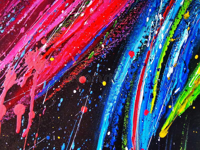 Cor acrílica colorida da pintura de óleo da arte abstrato na lona para o fundo imagens de stock