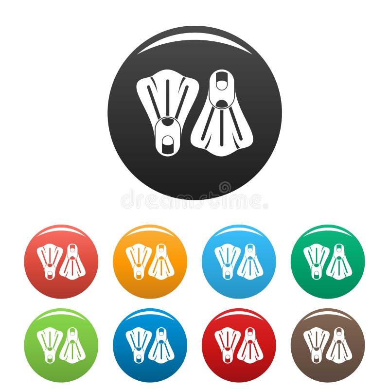 Cor ajustada ícones das aletas ilustração stock