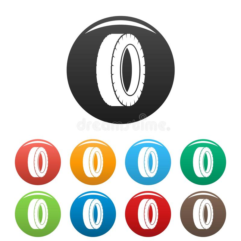 Cor ajustada ícones de giro do pneu ilustração do vetor