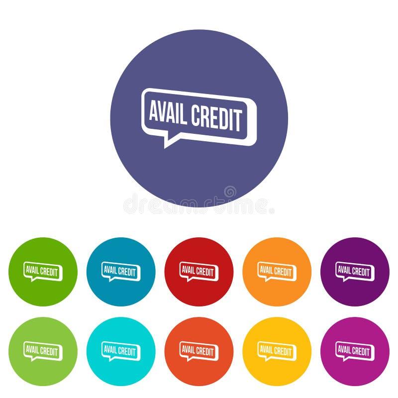 Cor ajustada ícones do vetor do crédito do proveito ilustração stock