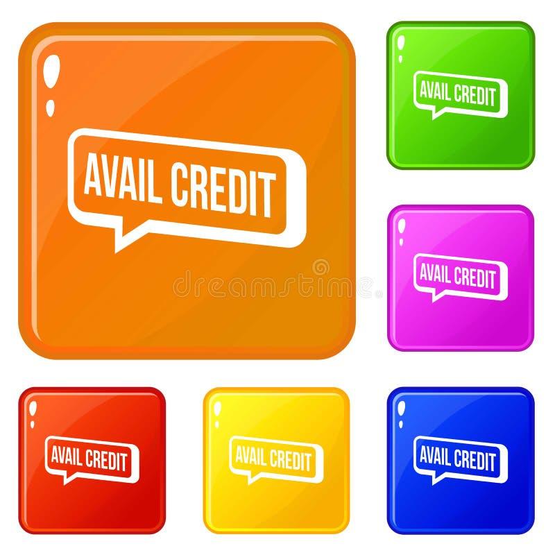 Cor ajustada ícones do vetor do crédito do proveito ilustração royalty free