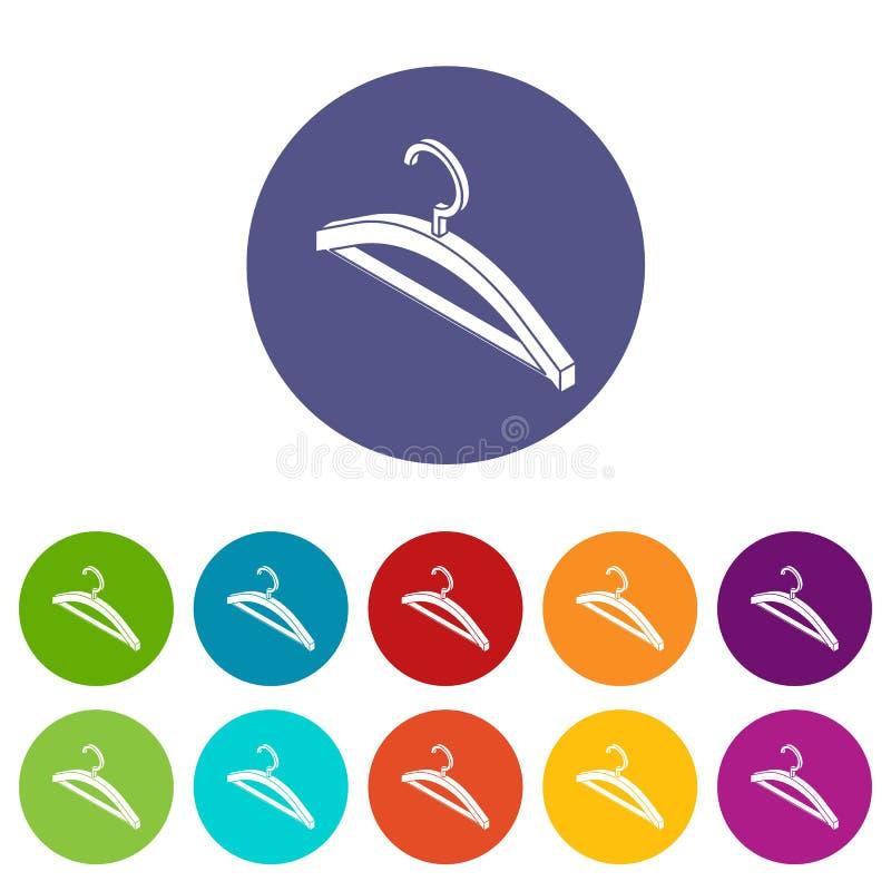 Cor ajustada ícones do vetor do gancho de roupa ilustração stock
