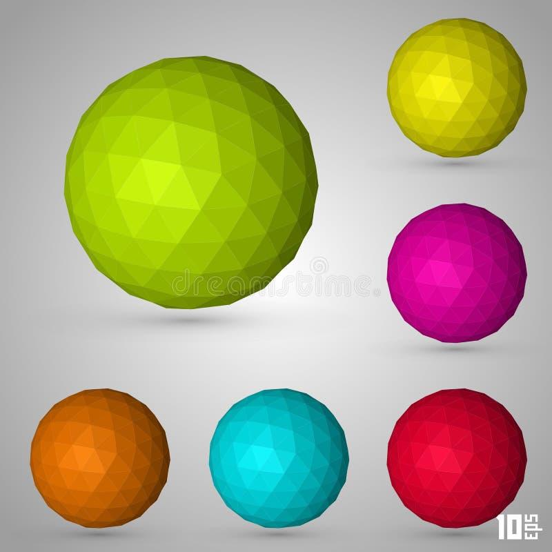 Cor ajustada da esfera poligonal ilustração royalty free