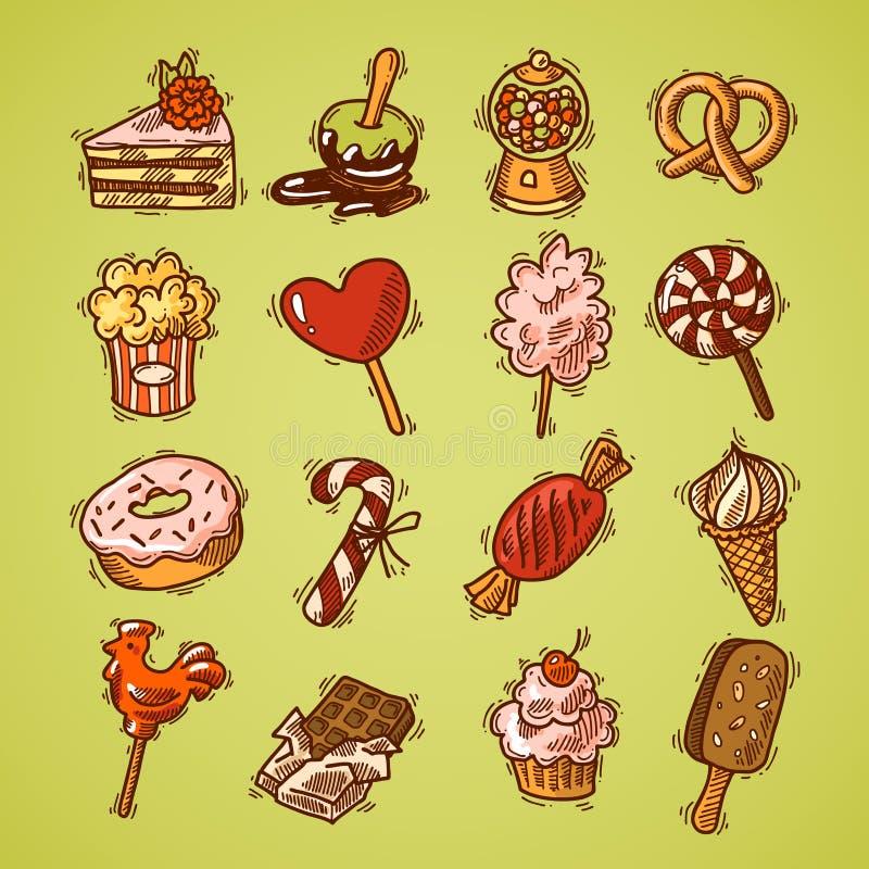 Cor ajustada do ícone do esboço dos doces ilustração stock