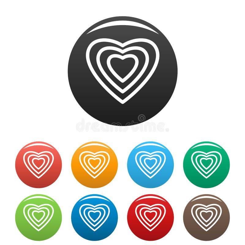 Cor ajustada do coração ícones humanos ilustração do vetor