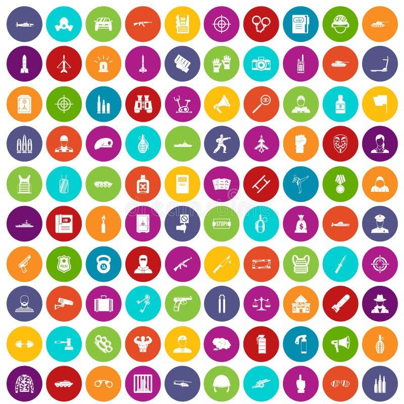 100 cor ajustada do oficial ícones ilustração do vetor