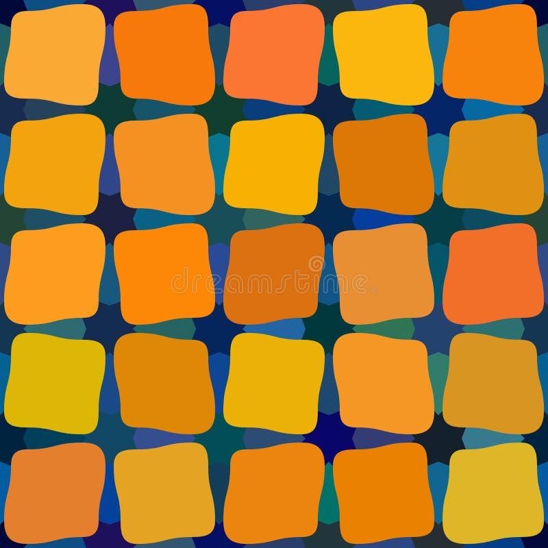 A cor alaranjada amarela azul do vetor protege o teste padrão de grade arredondado sem emenda dos quadrados do vitral ilustração stock