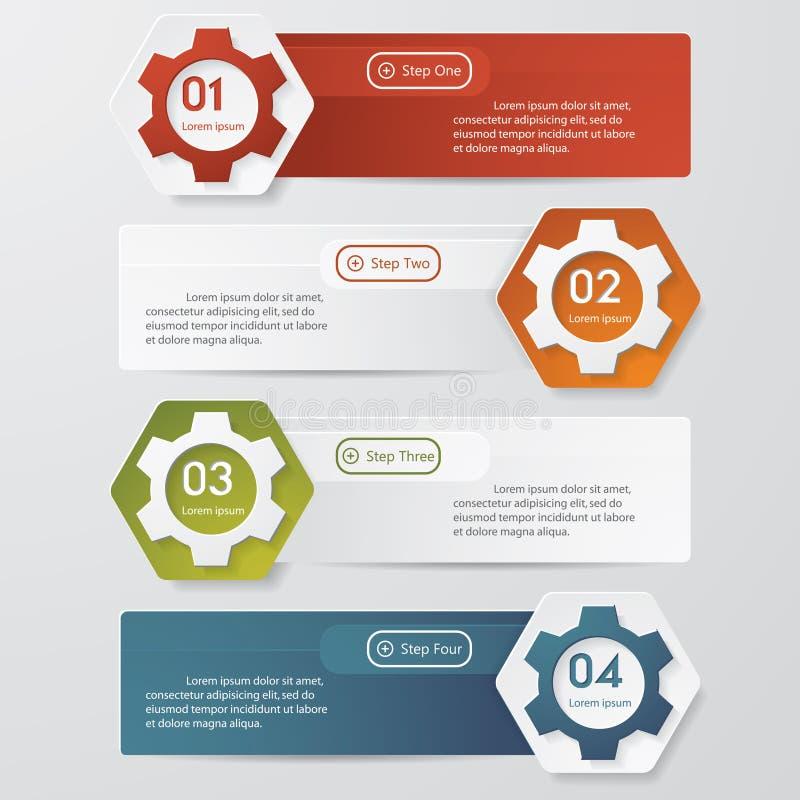 A cor alinha a bandeira das opções do número de Infographics. ilustração stock