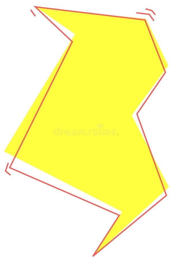 Cor amarela bolha isolada do diálogo da forma do relâmpago ilustração do vetor
