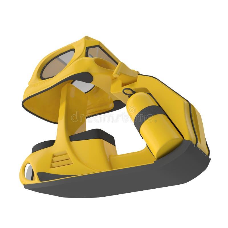 Cor amarela de mergulho do 'trotinette' subaquático, 3D Illustrationisolated no fundo branco ilustração do vetor