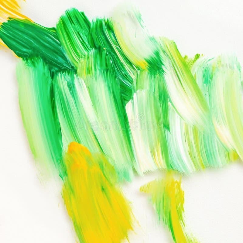 Cor amarela e verde de pintura acrílica abstraia o fundo ilustração royalty free